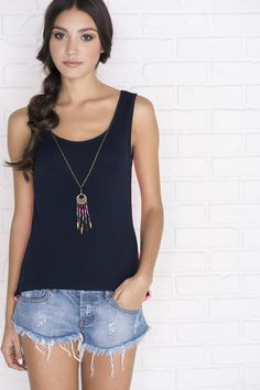 Navy tank with coral crochet back & necklace - New Arrivals