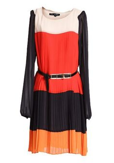 Orange Color Block Belt Pleated Chiffon Dress