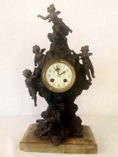"""Relógio para cima de mesa em bronze, """"Vieux Paris&#.."""