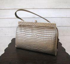 vintage 1960s purse / faux alligator embossed by theragandbone