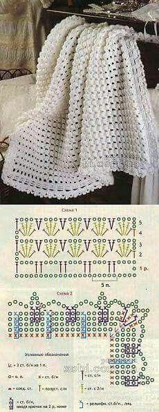 New crochet mantas patrones ganchillo Ideas Crochet Stitches For Blankets, Baby Afghan Crochet, Crochet Stitches Patterns, Stitch Patterns, Knitting Patterns, Crochet Bedspread, Baby Afghans, Crochet Diagram, Crochet Chart
