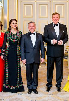 (L-R) Queen Rania of Jordan, looked glamorous in an embellished black frock, which featured floral detailing around the neckline and down the sides, joined King Abdullah of Jordan and King Willem-Alexander of The Netherlands, pose for the official picture ahead the official dinner at Palace Noordeinde in The Hague.