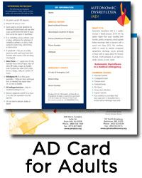 Request a free Autonomic Dysreflexia (AD) wallet card for adults.
