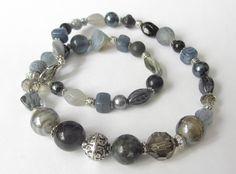 Glasketten - Glas-Kette Collier Perlen-Mix schwarz-grau-silber - ein Designerstück von soschoen bei DaWanda