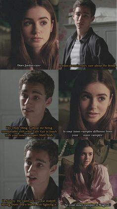Conversation between Clary and Simon. Lily Collins as Clary, Robert Sheehan as Simon. Quote.