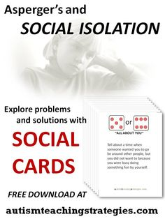 This is a set of 36 social skills game cards to help kids with Asperger's and other autism spectrum disorders to explore issues related to social isolation.  The player rolls dice, and the number indicates drawing a card from one of three piles. The game format adds some levity to a daunting topic. Additionally, there is a link to a set of seven worksheets on this theme. This was pinned by pinterest.com/joelshaul/ . Follow all our boards.