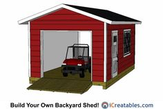 Shed Plans - Shed Plans - shed with garage door. Now You Can Build ANY Shed In A Weekend Even If Youve Zero Woodworking Experience! - Now You Can Build ANY Shed In A Weekend Even If You've Zero Woodworking Experience! Storage Shed Kits, Wood Storage Sheds, Outdoor Storage Sheds, Outdoor Sheds, 12x20 Shed Plans, Diy Shed Plans, Garage Plans, Garage Ideas, Garage Doors