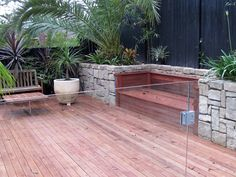 fixed bench in the side plant area . Plants Around Pool, Outdoor Spaces, Outdoor Decor, Planting, Decks, Pirates, Swimming Pools, Bench, Backyard