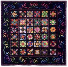 """Affairs of the Heart"" block-of-the-month designed by Aie Rossman: 36 blocks, each containing a heart motif, as seen at Stitchin' Heaven"