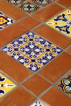 red is the perfect solid to break up the patterned tiles Mexican Tile - Spanish Mission Red Terracotta Floor Tile Spanish Style Bathrooms, Spanish Bathroom, Spanish Style Homes, Spanish Colonial, Spanish Tile Kitchen, Spanish Revival, Terracotta Floor, Mexican Kitchens, Hacienda Style