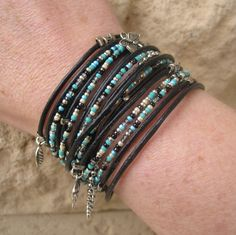 BOHO black leather WRAP BRACELET with Mixed by DesignsbyNoa