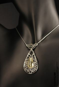 Gothic necklace - sterling silver and beautiful lemon quartz; hand made wire wrapped jewelry by IMNIUM