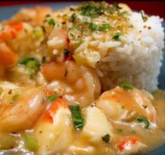 Emerills Shrimp Etouffee~one of my favorite meals, I use penzeys seafood soup base and I cook the rice in with the Etouffee so it soaks up all that goodness at the very end Before adding shrimp...