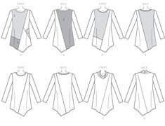 B6377 Misses' Seamed Tunics with Asymmetical Hems
