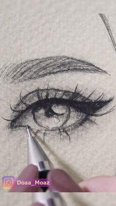 Girl Drawing Sketches, Art Drawings Sketches Simple, Pencil Art Drawings, Realistic Drawings, Sketches Of Eyes, Drawings Of Faces, Easy Simple Drawings, Pencil Sketch Art, People Drawings