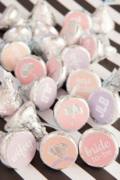 How to make custom Hershey Kiss stickers for your bridal shower, with free printables!