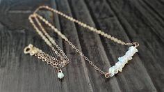 Opal+And+Rose+Gold+Necklace+Raw+Ethiopian+Opal+Chips+14