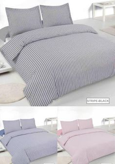 Printed Duvet sets are an easy way to change the whole theme of your bedroom and come at a more affordable price. This printed bed duvet covers comes with matching pillow cases, in a wide assortment of colours and a style to fit every person's tastes. Transform your bedroom into something spectacular! From £18.99 via www.lancashiretextiles.co.uk #home #OxfordStripe #classic #relax #home #sleep