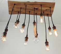 Salvaged Live Edge Wood Chandelier with Edison par urbanchandy, $425.00