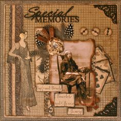 Special Memories ~ Love the flower and feather embellishments on this pretty heritage page.