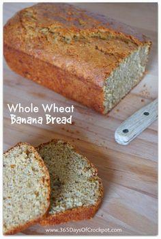 Whole Wheat Banana Bread Recipe from www.365daysofcrockpot.com #bananabread