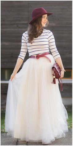 Amore Maxi Tulle Prom Skirt in Beige