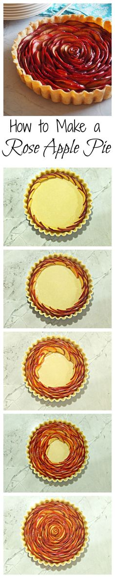 Rose Apple Pie Tutorial The flavor of ripe apples shines through in this lightly sweet, stunningly beautiful rose apple pie. Get the recipe here and serve this pie for Thanksgiving Apple Recipes, Sweet Recipes, Baking Recipes, Easy Recipes, Cookie Recipes, Just Desserts, Delicious Desserts, Yummy Food, Delicious Cookies