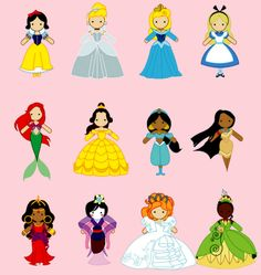 Cute princesses including; snow, Cinderella, sleeping beauty, alice, ariel, belle, jasmine, pocahontas, esmerelda, mulan, gisel,and tiana