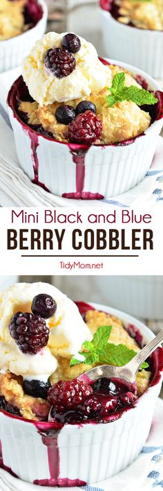 Berry Cobbler is a dessert classic everyone loves! Blackberries and blueberries are topped with a delicious biscuit like dough and baked in ramekins for the perfect single-serving dessert. Serve fresh out of the oven with scoop of ice cream and they are irresistible!