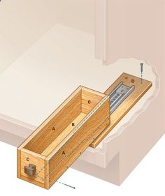 DIY instructions for those expensive wooden roll-out drawers to be installed in a bathroom (or kitchen) cabinet