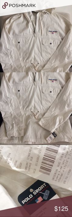 NWT Polo Sport Deadstock XL off white cotton drawstring waist hooded windbreaker from Polo Sport Ralph Lauren.  This find is insane- the receipt  from the early 90s is pictured.  🔥🔥🔥 Polo by Ralph Lauren Jackets & Coats Windbreakers