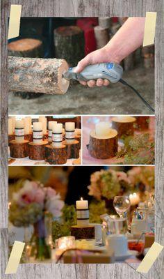 Tree Stump Candle Holders Need a Dremel Do It Yourself Wedding, Do It Yourself Fashion, Dremel, Diy Wedding, Rustic Wedding, Fall Wedding, Wedding Ideas, Wedding Gifts, Dream Wedding