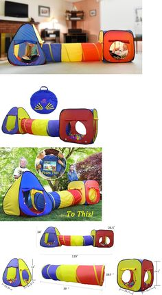 Play Tents 145997 Playhouses For Kids Tent Tunnel Outdoor Indoor Teepee Children 3 Piece Set  sc 1 st  Pinterest & Play Tents 145997: Indoor Playhouse For Children Bedroom Boys ...
