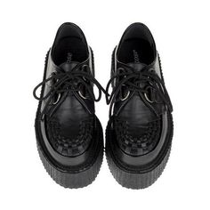 Lace Up Creepers with PU Detailed Toe (€105) ❤ liked on Polyvore featuring shoes, flats, creepers, black, lace up shoes, flat pumps, creeper shoes, black platform shoes and low cut shoes
