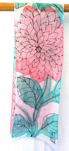 Silk Scarf Handpainted Pink and Mint Floral by SilkScarvesTakuyo