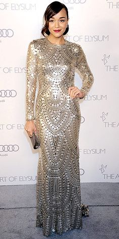 ASHLEY MADEKWE at the Art of Elysium gala in L.A. wearing an allover palette-embellished Naeem Khan gown