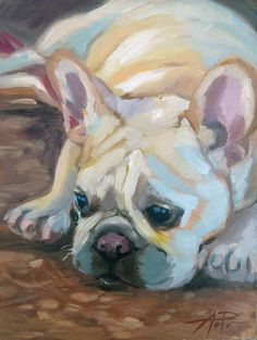 "Daily Paintworks - in 30 - Day 19 - Laying Low"" - Original Fine Art for Sale - © Anette Power Illustrations, Illustration Art, Paint Your Pet, French Bulldog Art, Dog Portraits, Animal Paintings, Art Projects, Pastel, Comic"