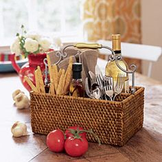 A tisket, a tasket, and elegant serving basket.  Willow House.  Perfect for the kitchen desk!