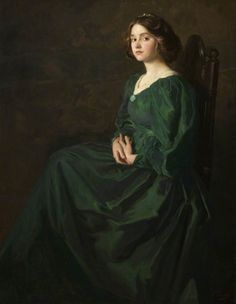 The Green Gown by Thomas Edwin Mostyn.  C.P.