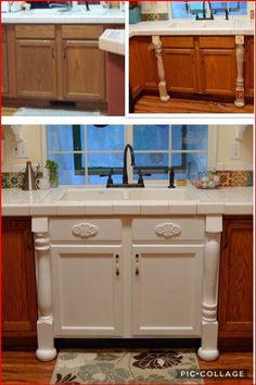 Farmhouse Kitchen Cabinets, Painting Kitchen Cabinets, Kitchen Redo, New Kitchen, Kitchen Remodel, Kitchen Ideas, Making Kitchen Cabinets Look Like Furniture, Refurbished Kitchen Cabinets, Ugly Kitchen