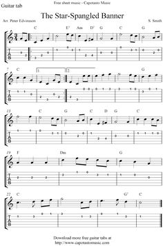 Easy guitar tab sheet music score with the melody The Star-Spangled Banner. Free printable guitar sheet music score for beginners.