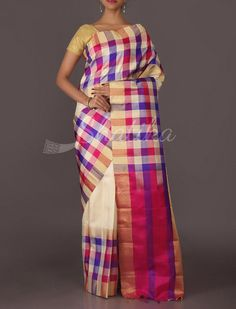 Ananya Checquered Multi Hued Pure #MulberrySilkSaree