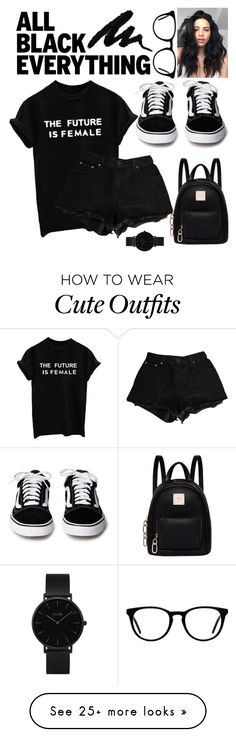"""all i need is black"" by heyheytommo on Polyvore featuring Levi's, Fiorelli, CLUSE, Muse and allblackoutfit"