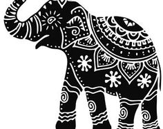indian elephant art tattoo - would look great as paper cut. Indian Elephant Art, Indian Art, Elephant India, Elephant Head, Elephant Outline, Elephant Artwork, Tattoo Elephant, Madhubani Art, Madhubani Painting