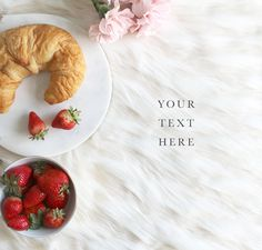 Summer Item Flat Lay wall art, Strawberries, Croissant, Pink Carnations by TheDesignStudioCo on Etsy