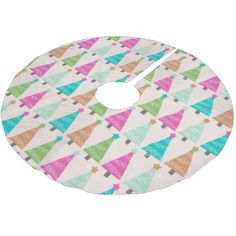 Retro Christmas Trees holiday tree skirt features a white background with lots of bright Christmas trees of orange, hot pink, light blue, aqua blue, and green decorated with white snowflakes and colorful stars! This beautiful Retro Christmas Trees holiday tree skirt makes a great gift or get one for yourself to enjoy for years to come! #christmas #holiday #vintage #xmas #pretty #beautiful #retro #christmas #trees #decorated #trees #trees
