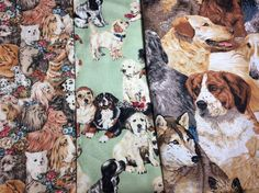 Dog Fabric Cotton Lot Tan Green Dalmatian Chihuahua Terrier Labrador #Unbranded