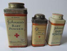 3 Vintage Johnson & Johnson Baby Powder Tin Boxes 1950s. $19.50, via Etsy.