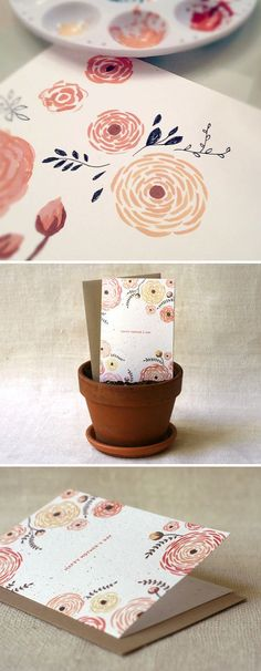 DIY Mothers Day Cards - DIY Bouquet Wildflower Seeds Embedded Card - Creative and Thoughtful Homemade Card Ideas for Mom - Step by Step Tutorials, Best Quotes, Handmade Projects Diy And Crafts, Arts And Crafts, Paper Crafts, Watercolor Cards, Watercolor Ideas, Watercolor Techniques, Tattoo Watercolor, Watercolor Animals, Watercolor Background