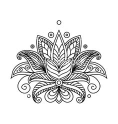 Persian or turkish paisley flower henna lotus vector by Seamartini .You can find Lotus and more on our website.Persian or turkish paisley flower henna lot. Flor Henna, Henna Art, Irezumi Tattoos, Marquesan Tattoos, Lotus Tattoo, Mandala Tattoo, Lotus Henna, Lotus Mandala, Flower Tattoo Designs